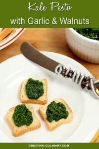 Kale Pesto Appetizer on Melba Toast