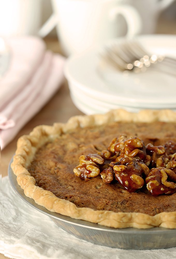Kentucky Derby Pie with Walnuts and Bourbon in a Pie Plate