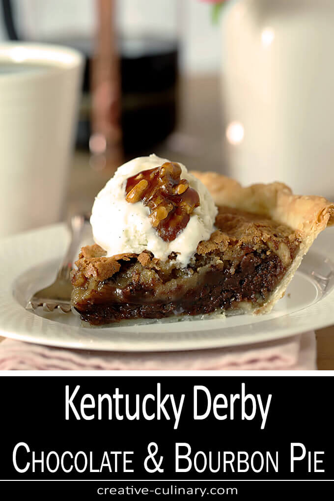 Kentucky Derby with Chocolate and Walnuts Served on a Plate with Whipped Cream