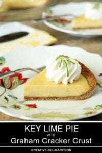 Slice of Key Lime Pie with Whipped Cream Garnished with Lime Zest