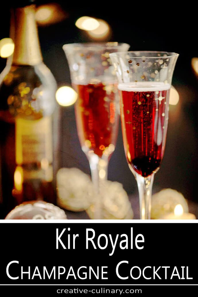 Kir Royale Champagne Cocktail Served in a Pair of Champagne Flutes
