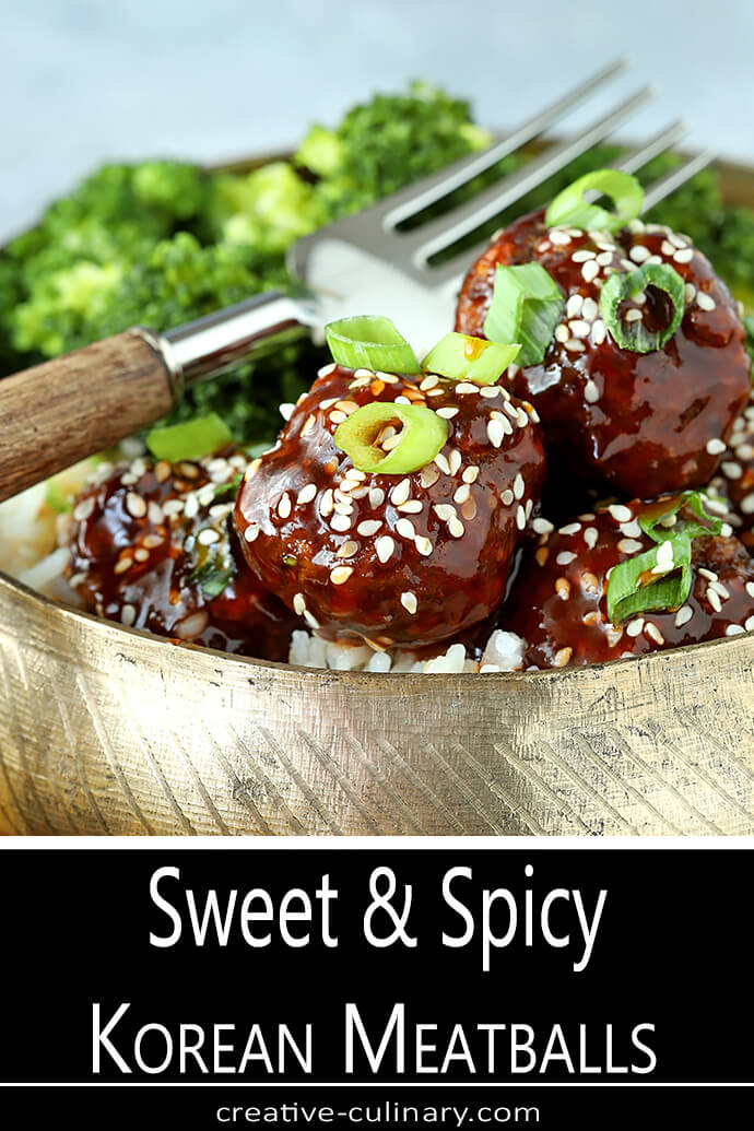 Korean Meatballs Finished with Korean Meatballs with Gochujang Glaze