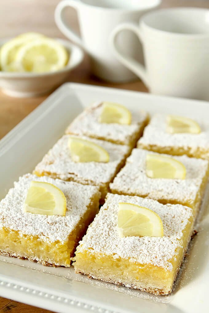 The Best Lemon Bars for A Crowd on a Serving Plate