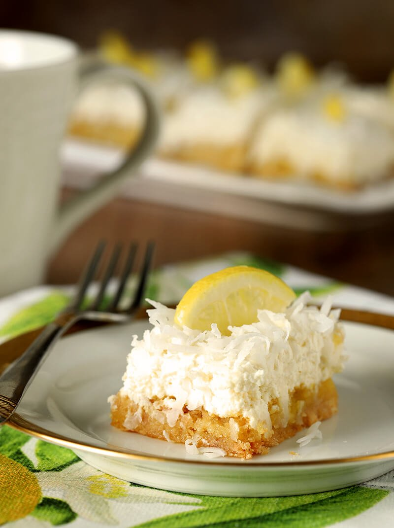Slice of Lemon and Coconut Bar with Mascarpone Cheese from Nordstrom Cafe