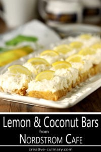 Lemon and Coconut Bars with Mascarpone Cheese from Nordstrom Cafe Garnished with Lemon Slices