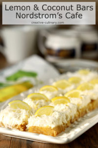 Lemon and Coconut Bars with Mascarpone Cheese from Nordstrom Cafe on a Rectangular Serving Plate