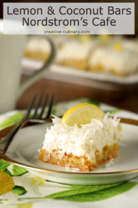 Individual Serving of Lemon and Coconut Bars with Mascarpone Cheese from Nordstrom Cafe