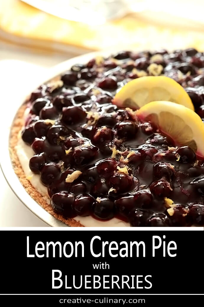 Lemon Cream Pie with Blueberries Whole for Pinning