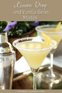 Lemon Drop Martini with Vanilla Bean in a Martini Glass