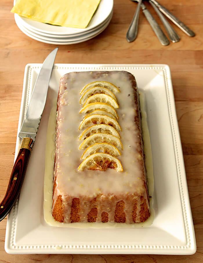 Lemon Summer Squash Bread Garnished with Roasted Lemon Slices