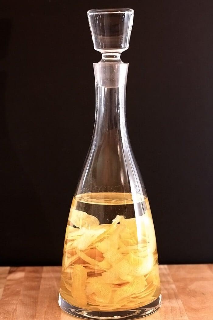 Lemon Peels Steeping in Vodka for Limoncello