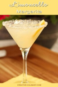 Limoncello Margarita with Sugar Rim and Garnished with Lemon Wedge