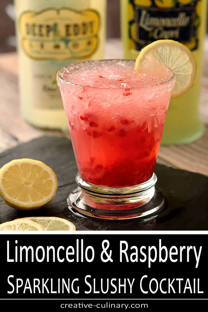 Limoncello and Raspberry Sparkling Slushy Cocktail PIN