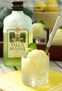Frozen Limoncello Sorbet Served in a Small Glass with a White Handled Spoon