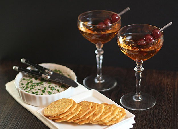 Classic Manhattan Cocktail Served with Mushroom Pate