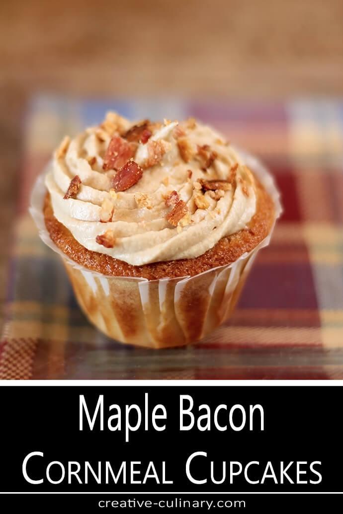 Maple Bacon Cornmeal Cupcakes PIN