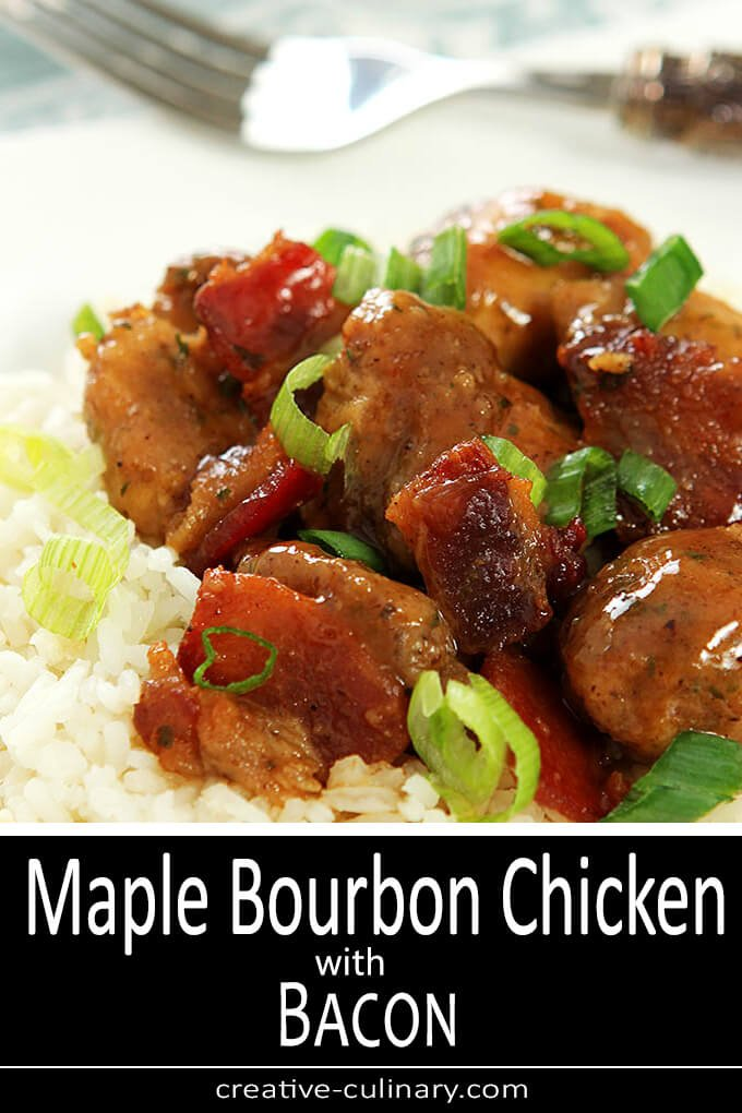 Maple Bourbon Chicken with Bacon Served Over Rice and Garnished with Green Onion