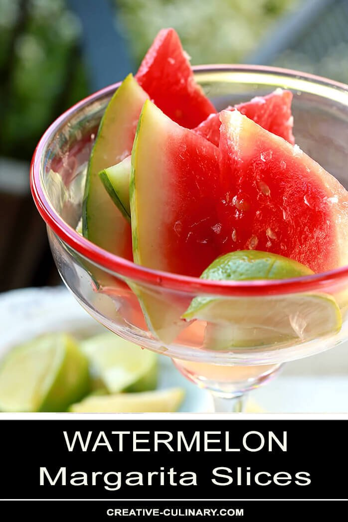 Margarita Watermelon Slices Served Outdoors in a Traditional Margarita Glass