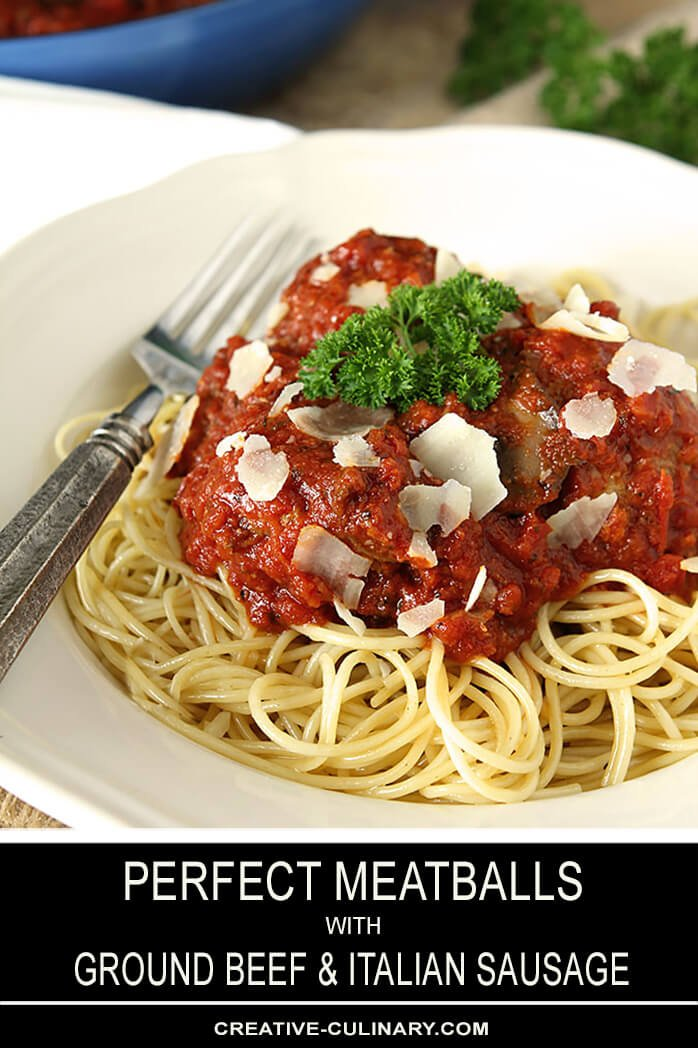 Perfect Meatballs with Ground Beef and Italian Sausage on White Plate Garnished with Parmesan and Parsley