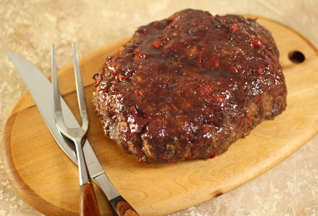 Meatloaf with Mae Ploy Sweet Chili Sauce on a Serving Board
