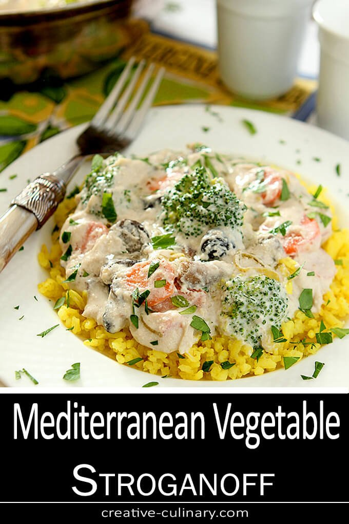 Mediterranean Vegetable Stroganoff with Ricotta Cheese and Parmesan Served in Round Bowls with Parsley Garnish