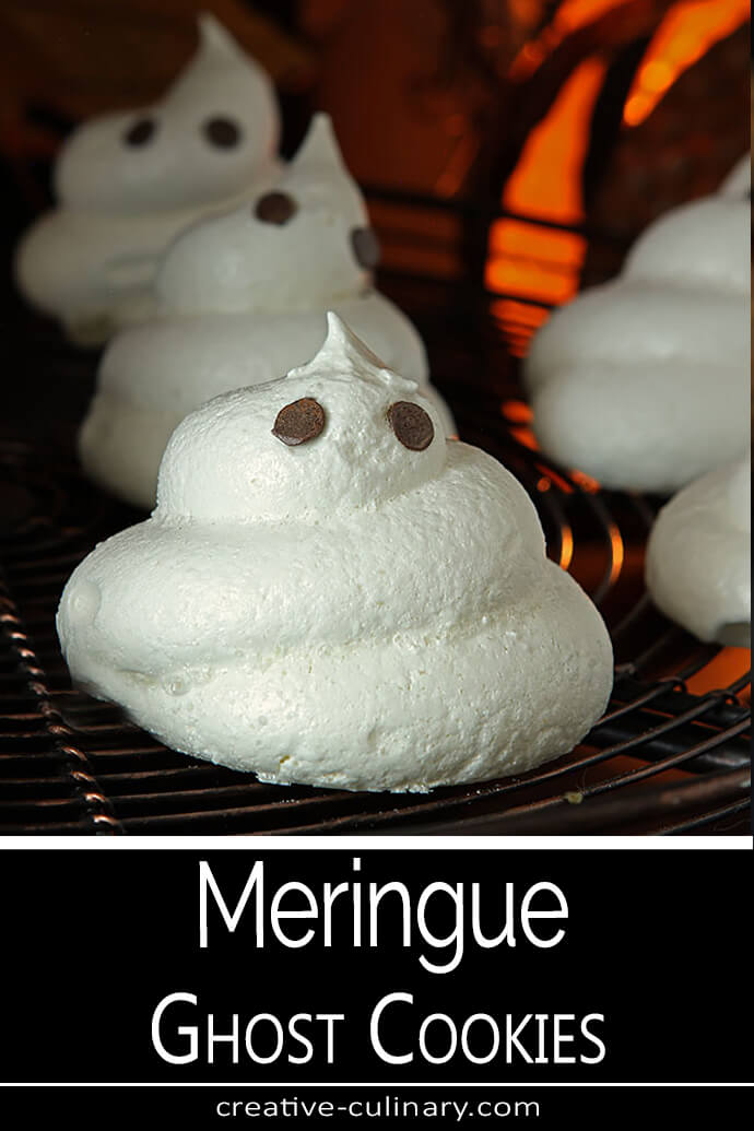 Meringue Ghost Cookies with Chocolate Chip Eyes for Halloween
