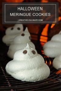 Halloween Meringue Ghost Cookies with Chocolate Chips Eyes