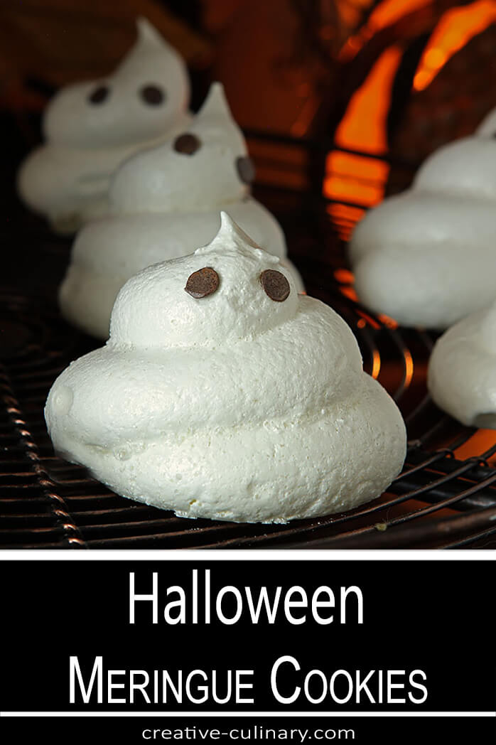Halloween Meringue Ghost Cookies with Chocolate Chips Eyes