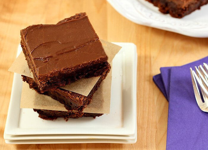 Mexican Brownies with Cinnamon and Cayenne Pepper Closeup Stacked Three Brownies High