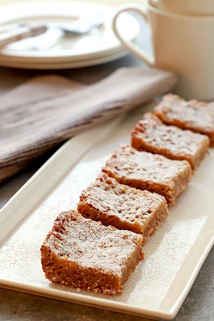 Milk Pie Bars from Momofuku Lined up on a Serving Plate