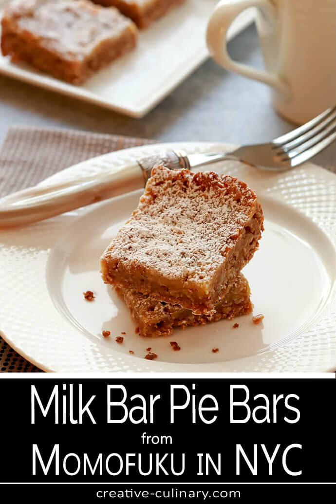 Milk Pie Bars from Momofuku Stacked on a Round Plate for Serving PIN