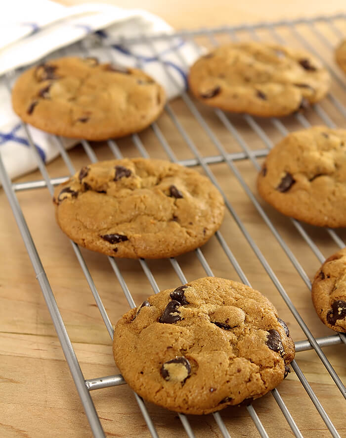 Molasses and Brown Butter Chocolate Chip Cookies on Cooling Rack
