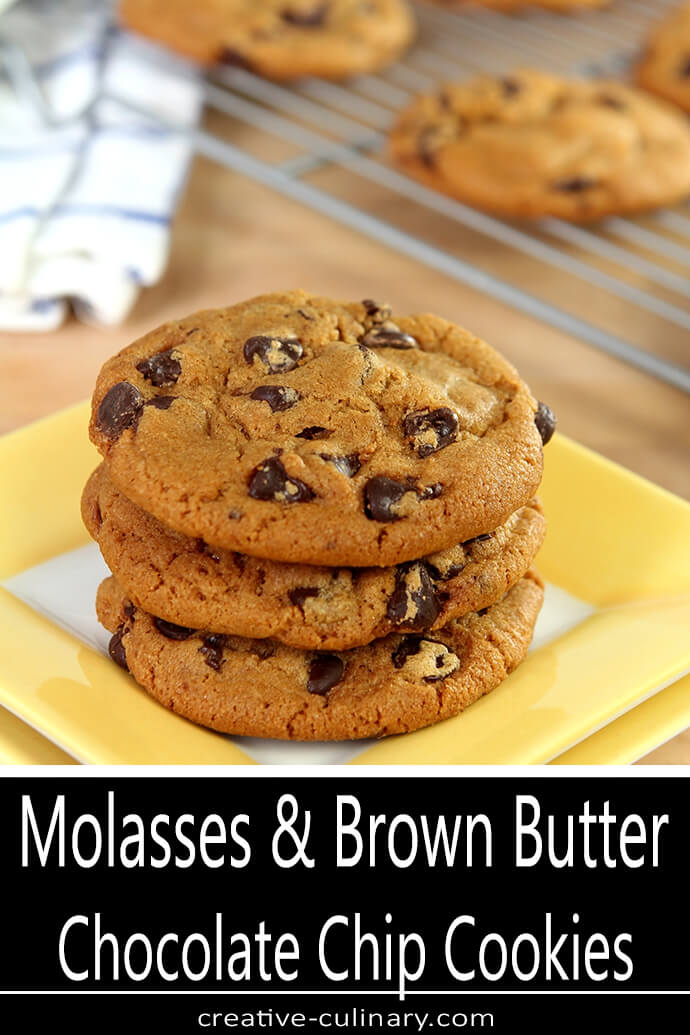 Stack of Molasses and Brown Butter Chocolate Chip Cookies on Yellow Plate