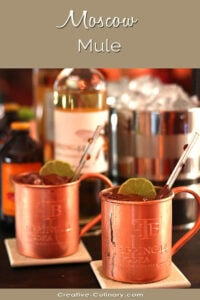 Two Moscow Mule Cocktails Served in a Copper Mug
