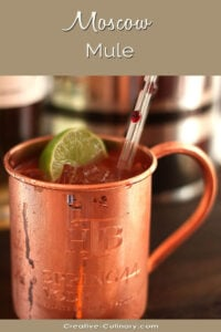 Moscow Mule Cocktail Garnished with Lime