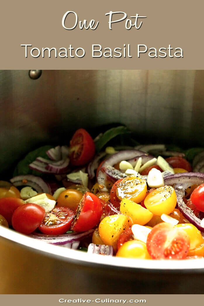 Pot of Tomatoes and Pasta Prior to Cooking