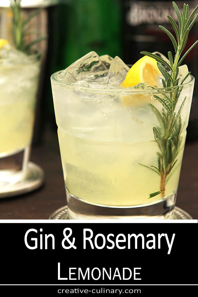 Gin and Rosemary Sparkling Cocktail Served in a Lowball Glass and Garnished with Rosemary and Lemon
