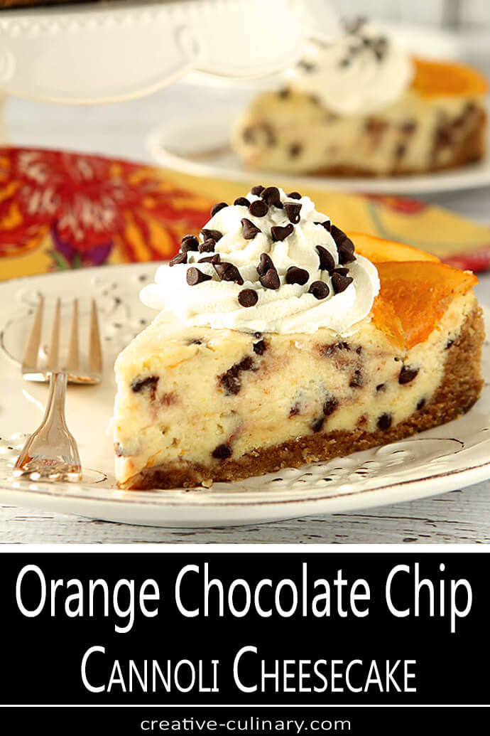 Slice of Orange Chocolate Chip Cannoli Cheesecake on a White Plate