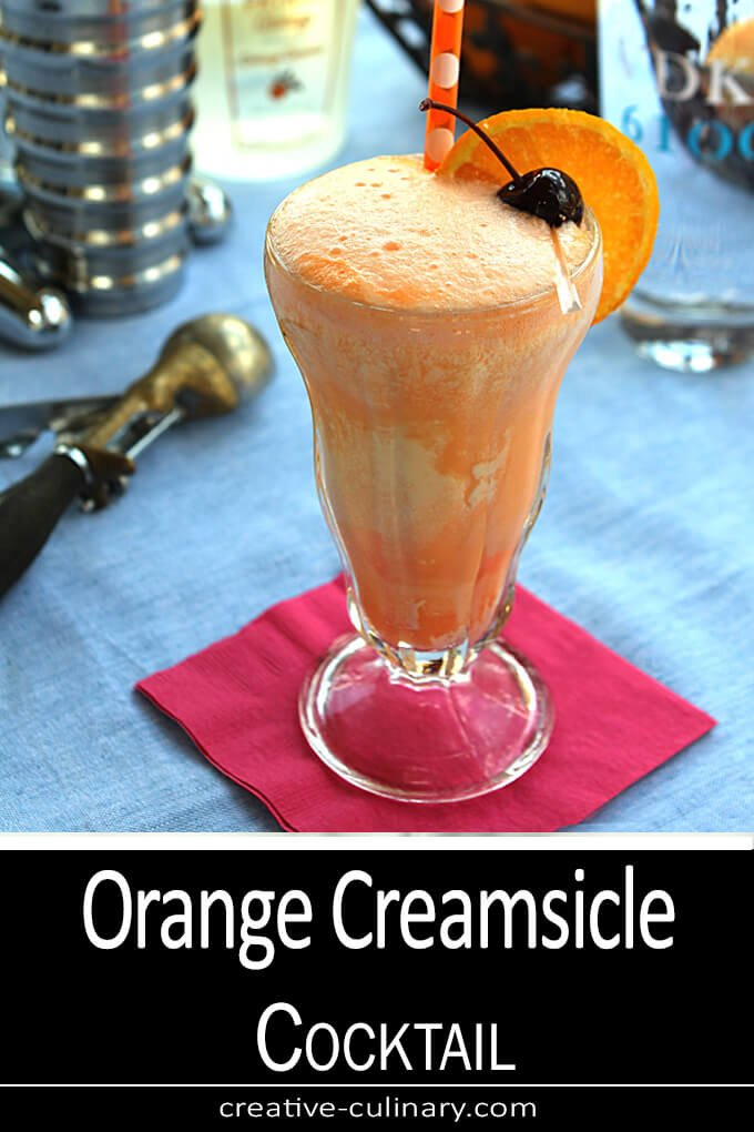 The Orange Creamsicle of our youth combined with some vodka and it's an adult treat served in a tall ice cream float glass.