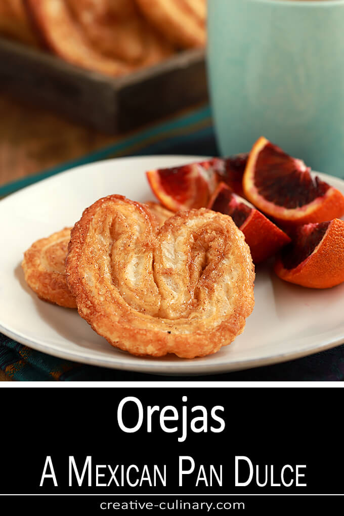 Orejas - A Mexican Pan Dulce with oranges and coffee for breakfast