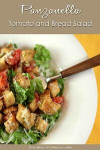 Panzanella - Bread and Tomato Salad in White Bowl