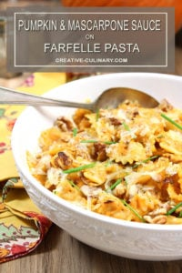 White Serving Bowl with Pumpkin and Mascarpone Sauce Served on Farfelle Pasta
