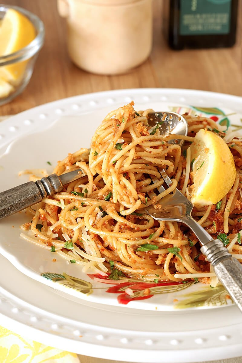 Fork Twirled with Pasta with Sun-Dried Tomato and Roasted Almond Pesto
