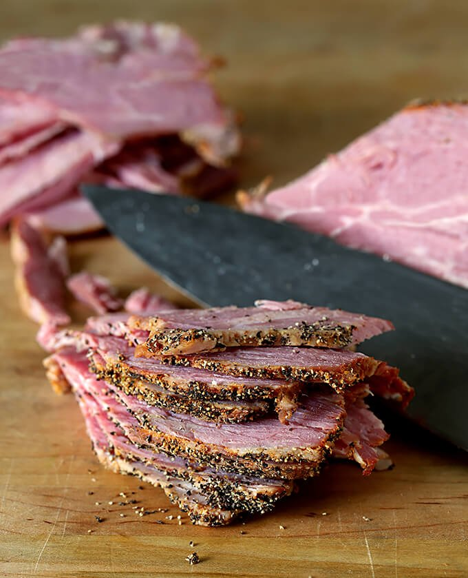 Homemade Pastrami Sliced on Cutting Board