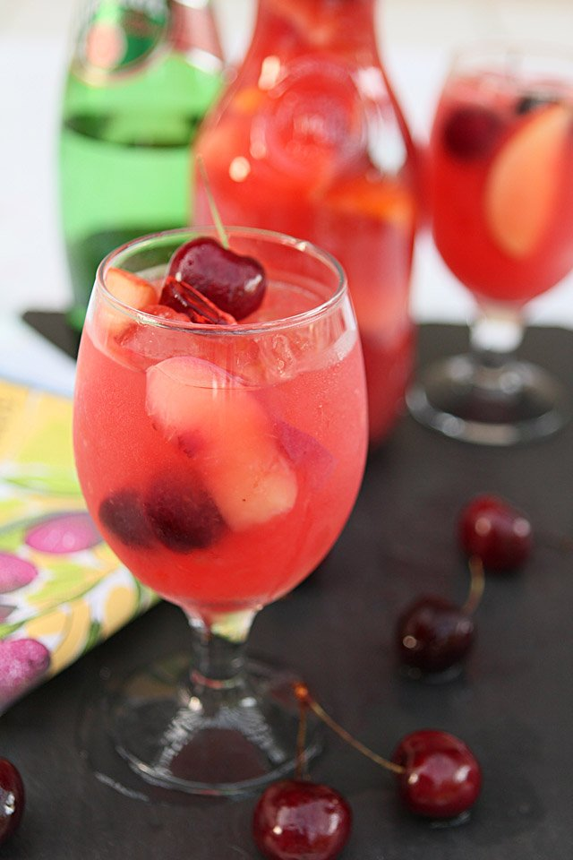 White Peach and Bing Cherry Sangria