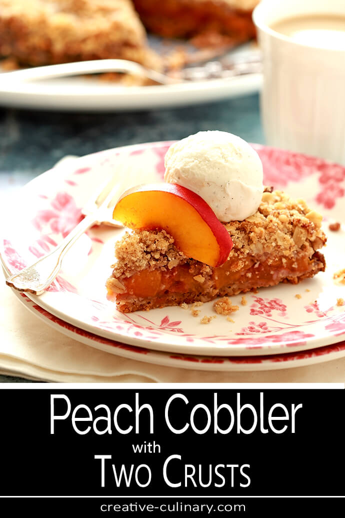 Slice of Double Crusted Peach and Pecan Cobbler PIN