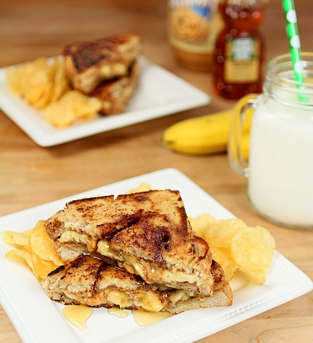 Grilled Peanut Butter and Banana Sandwich on Cinnamon Bread