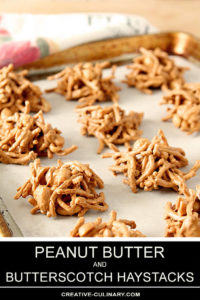 Peanut Butter and Butterscotch Haystacks on a Baking Tray