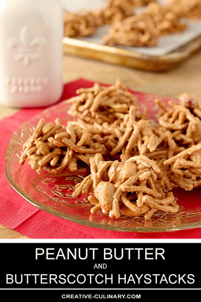 Peanut Butter and Butterscotch Haystacks on a Glass Plate