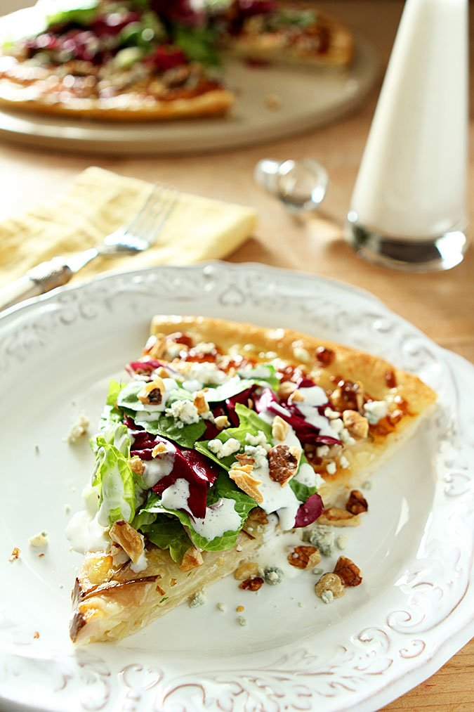 Pear, Gorgonzola and Hazelnut Pizza with Mixed Greens